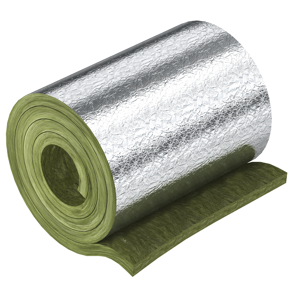 Mineral wool w. aluminium foil for sectional insualtion